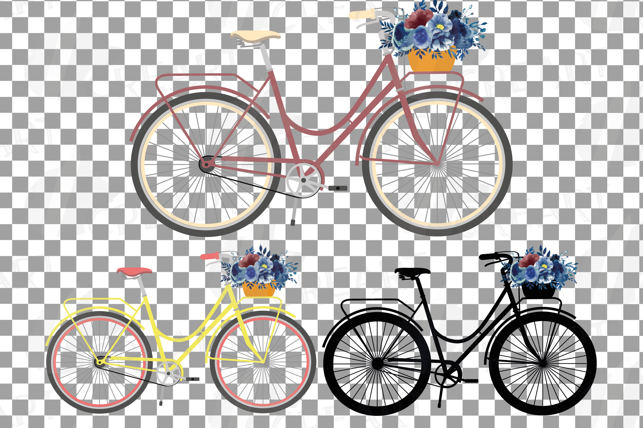 Navy blue floral blush and yellow bicycles clip art pack example image 2