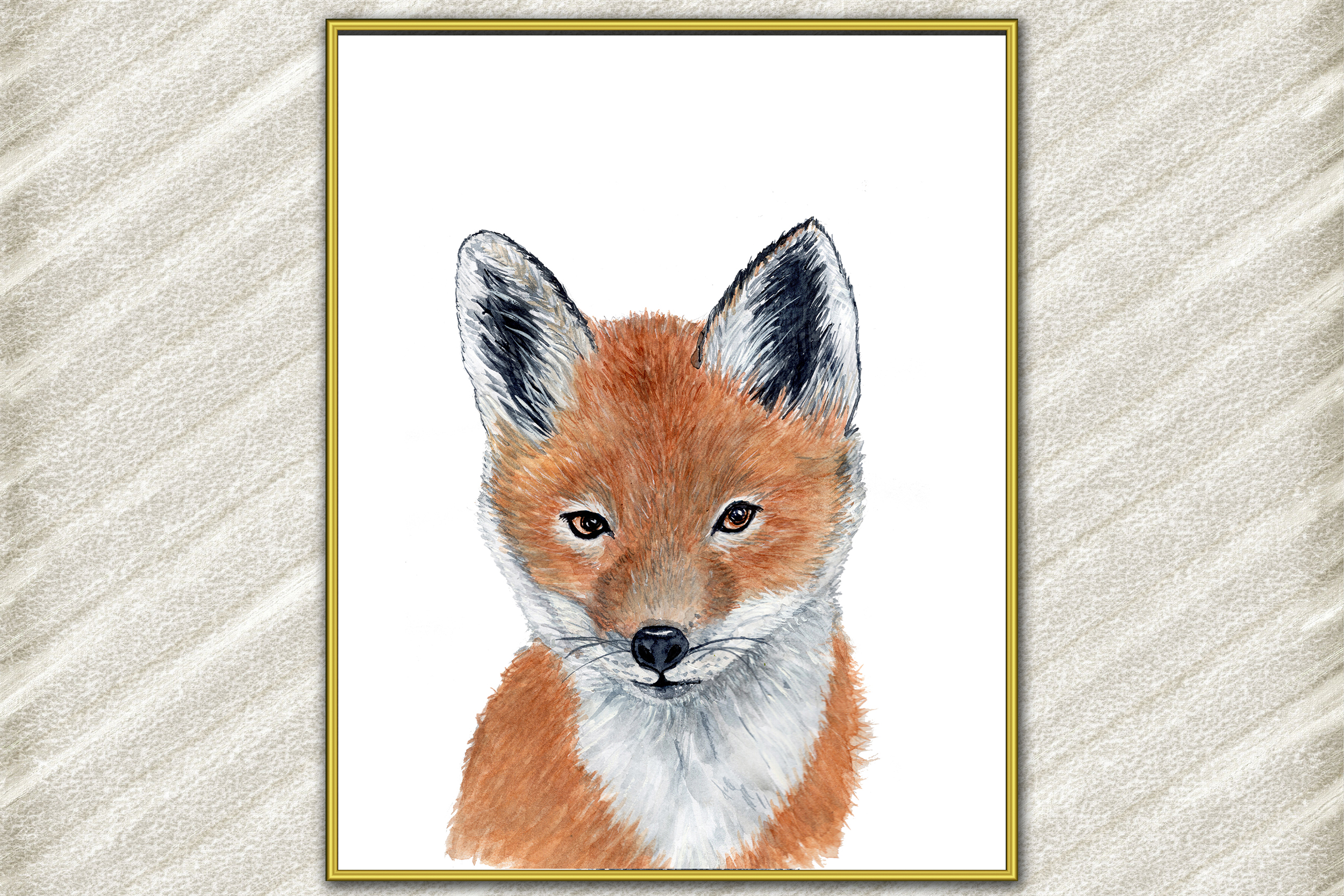 Baby Fox animal digital print Forest watercolor animals example image 2