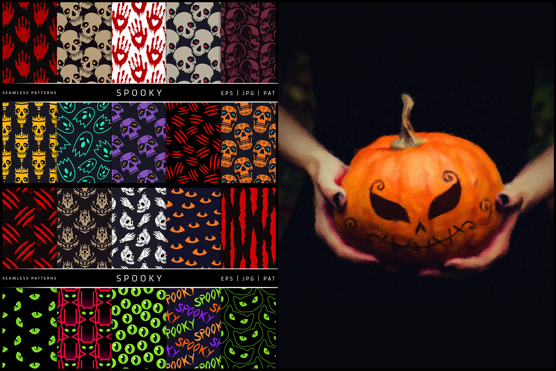100 Seamless Patterns Vol.3 Halloween example image 7