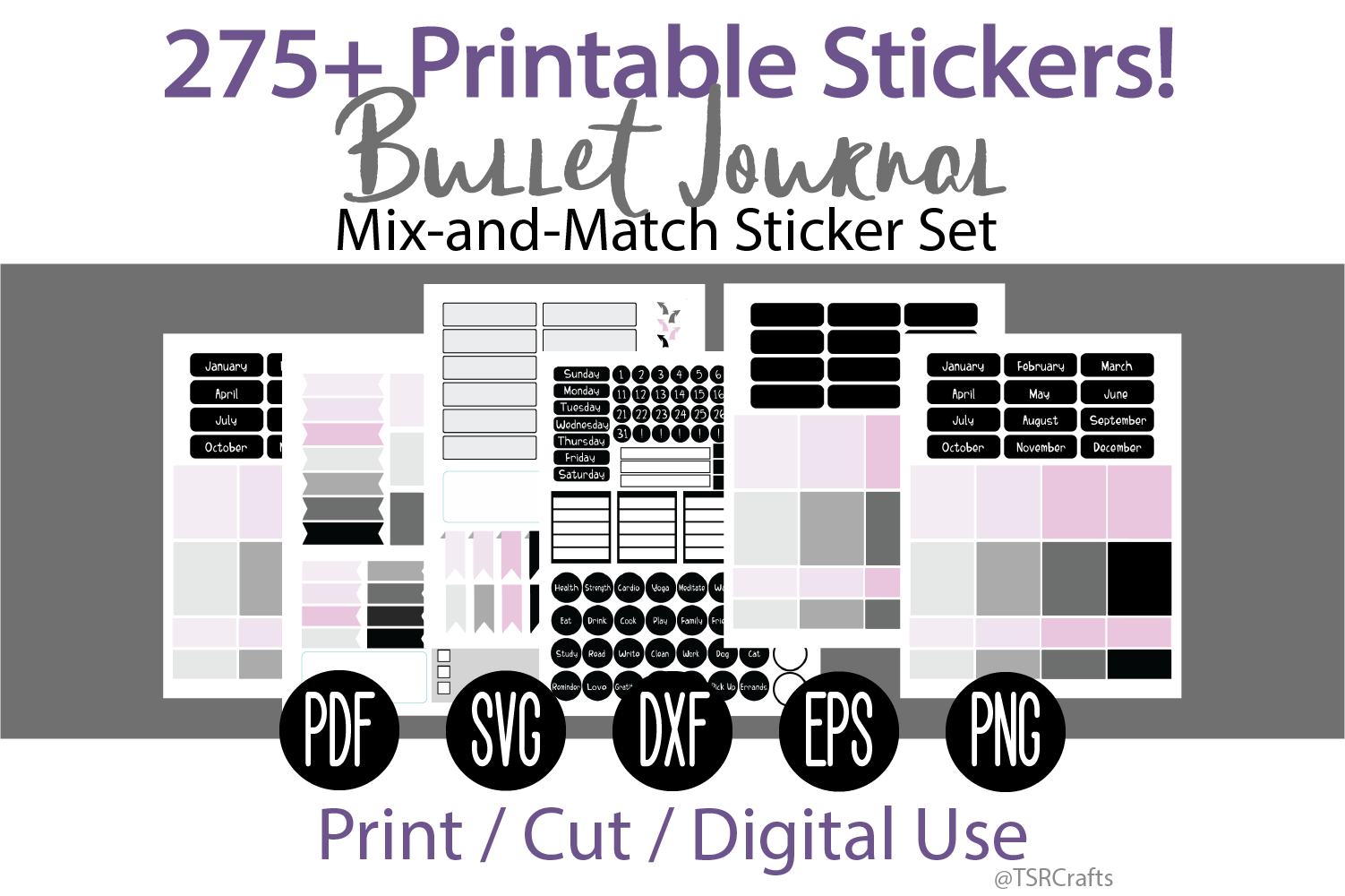 Bullet Journal and Planner Sticker Set - Black and Pink example image 1