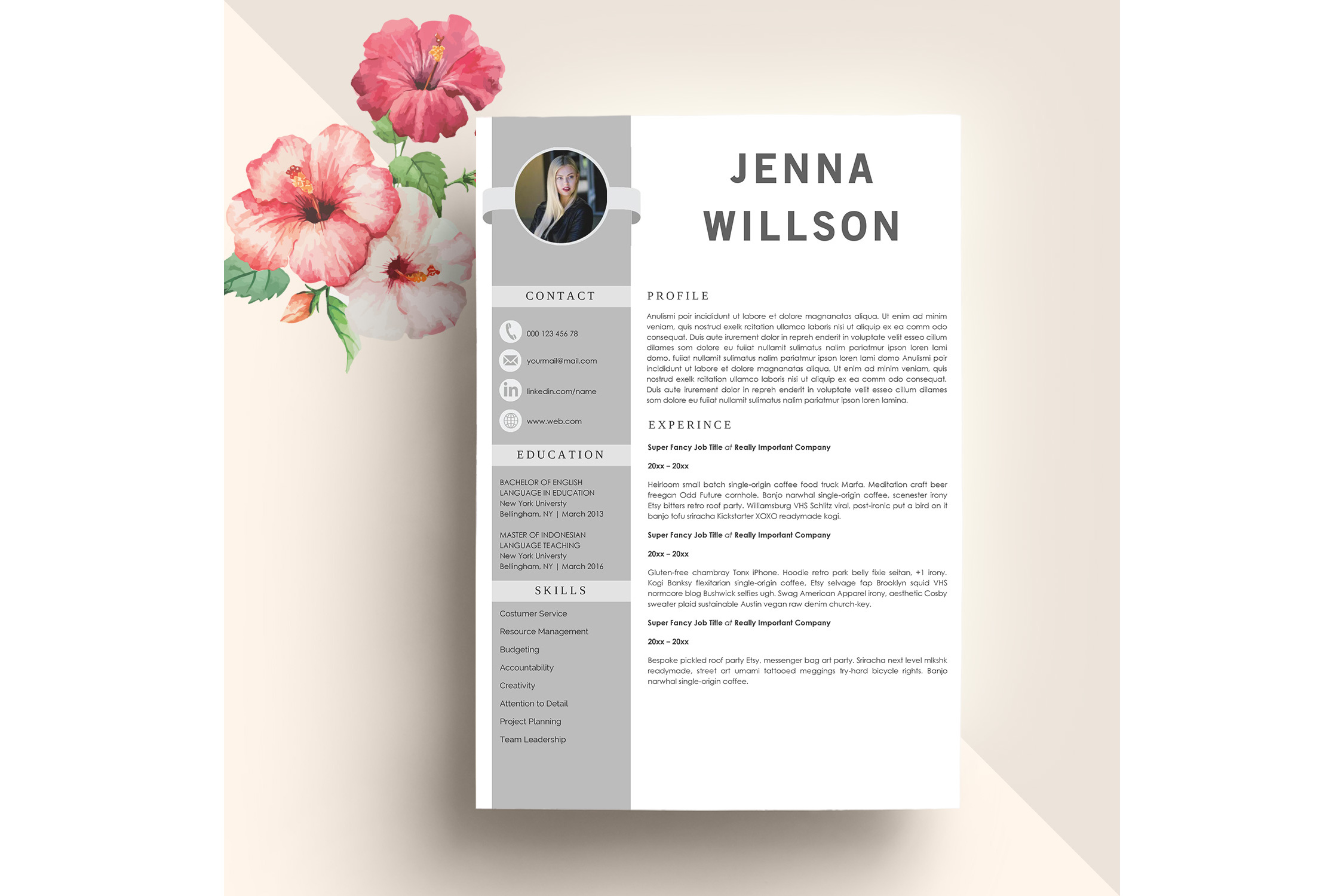 Professonal Resume Template Word example image 1