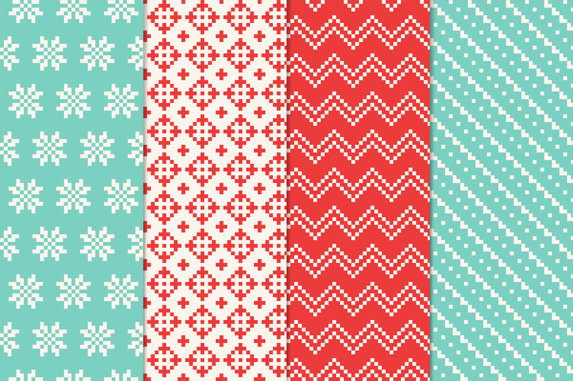 14 Christmas Pixel Seamless Patterns example image 4