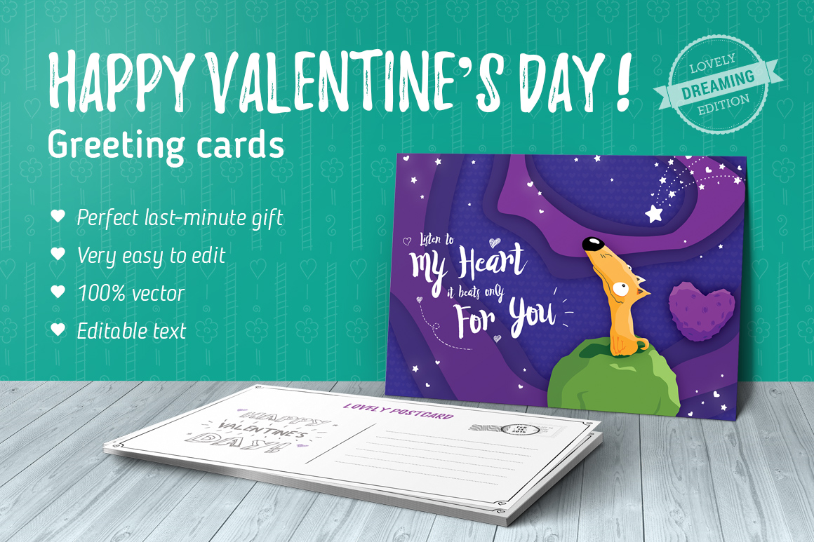 Dreaming Valentine greeting cards example image 1