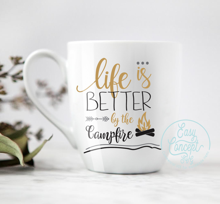 Life is Better by the Campfire, SVG DXF Png Eps Pdf Studio Vector Cut Files example image 2