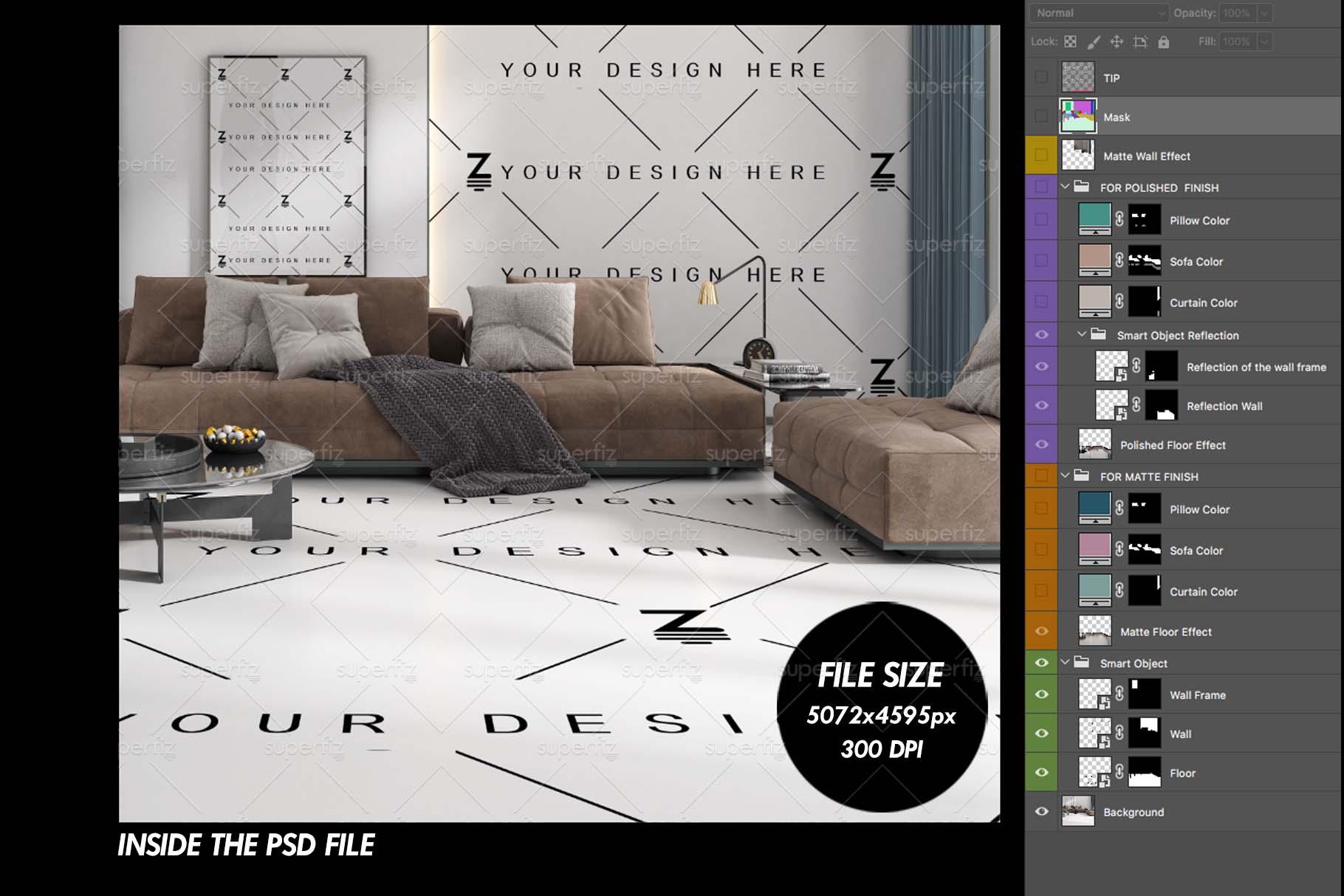 Blank Floor and Wall PSD Mockup Livingroom SM75 example image 5
