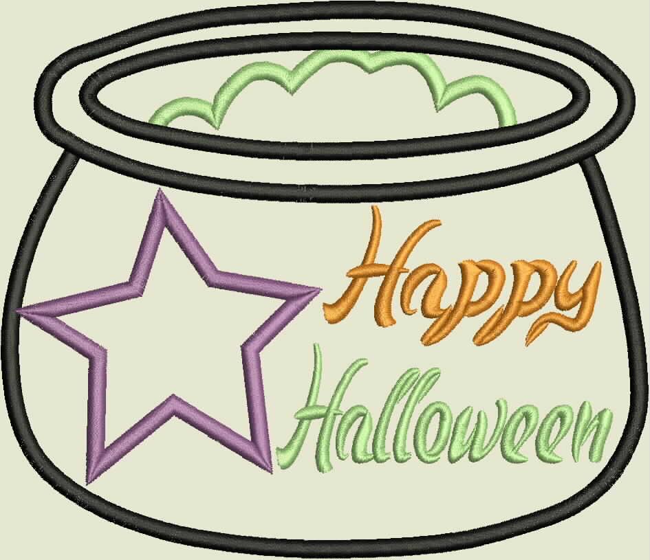 Halloween Cauldren Machine Applique Embroidery Design example image 2