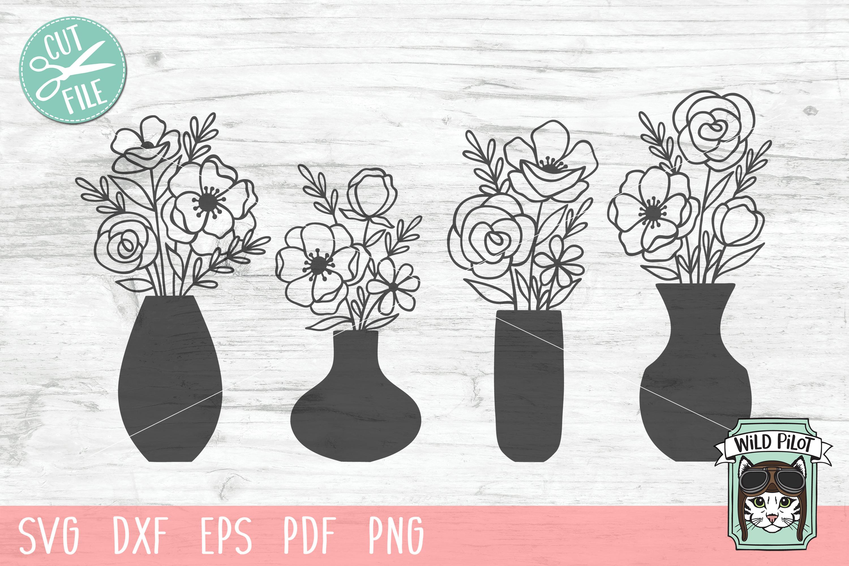 Flower VaseSVG file, Floral Vase cut file, Bouquet clipart example image 1