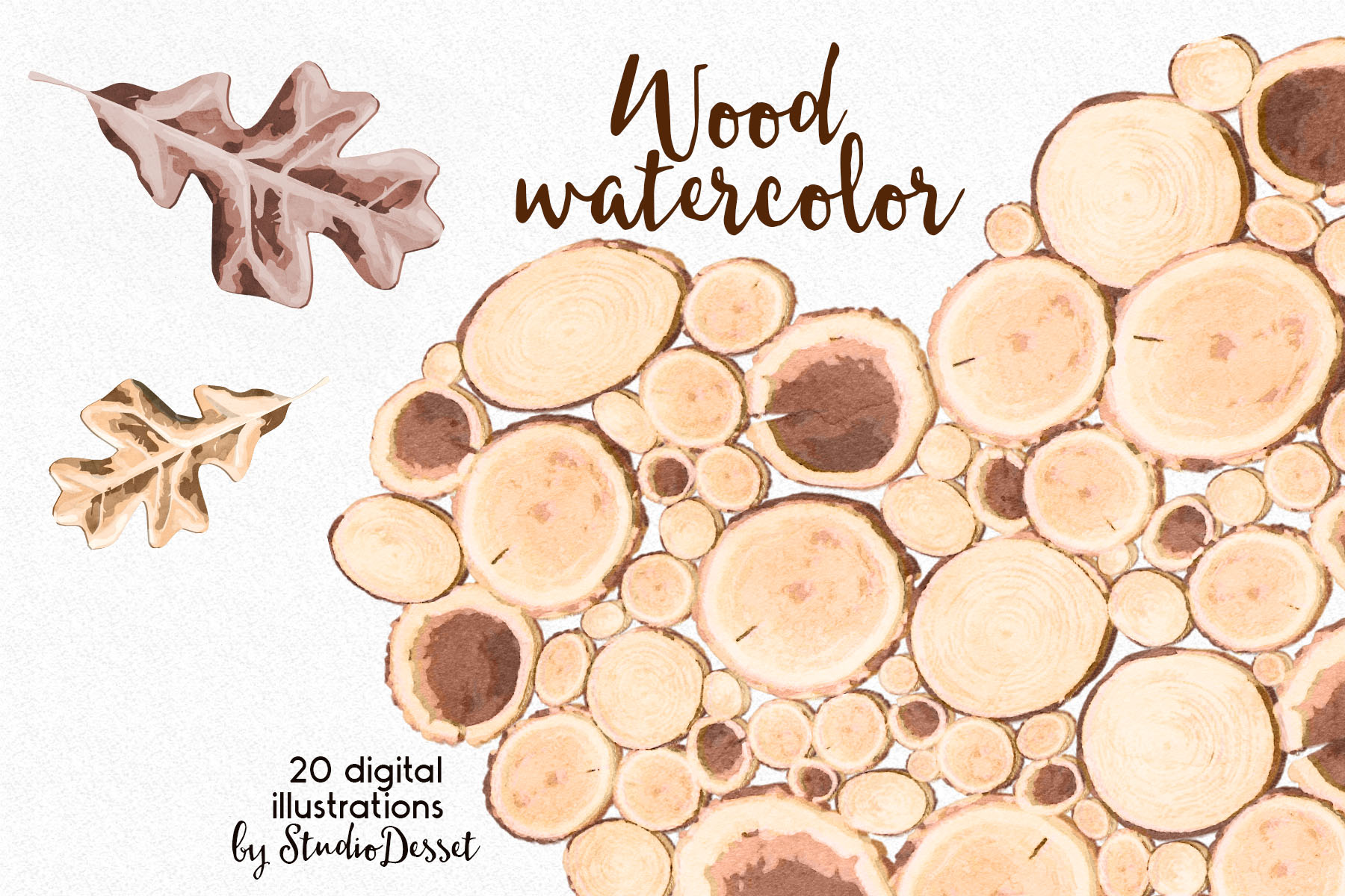 Rustic Wood Watercolor Illustrations example image 3