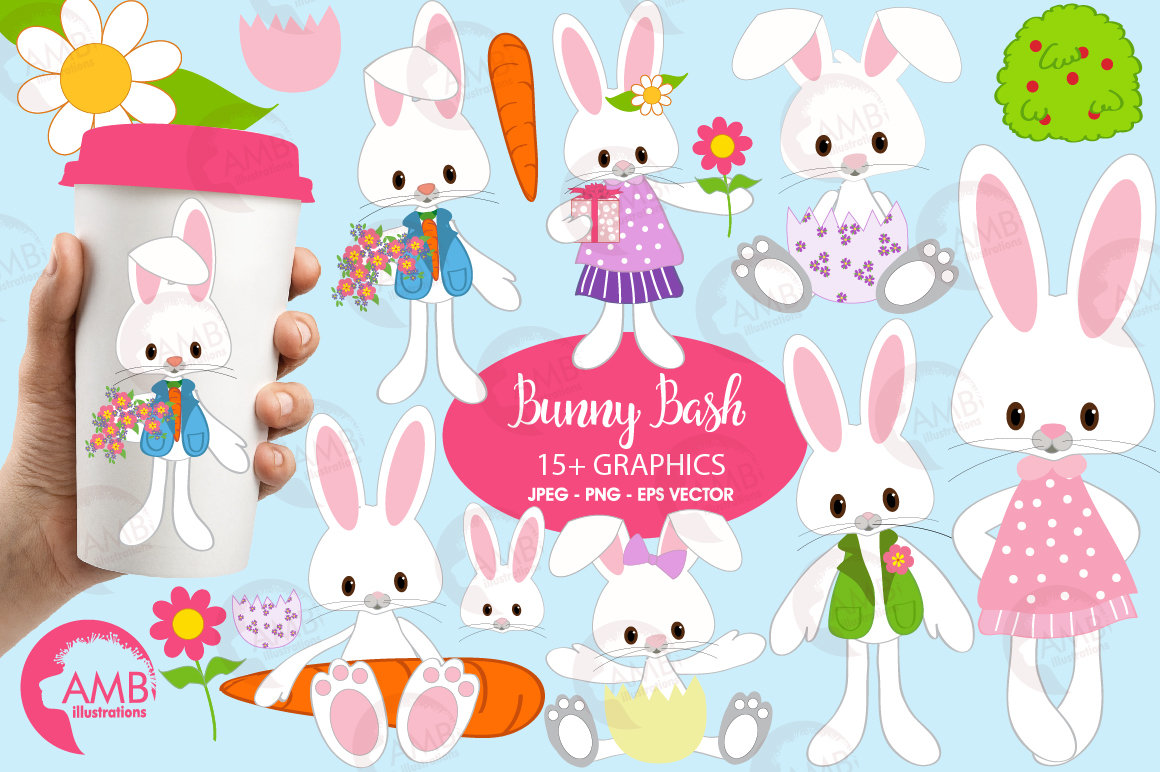 Easter Bunnies clipart, graphics, illustrations AMB-370 example image 1