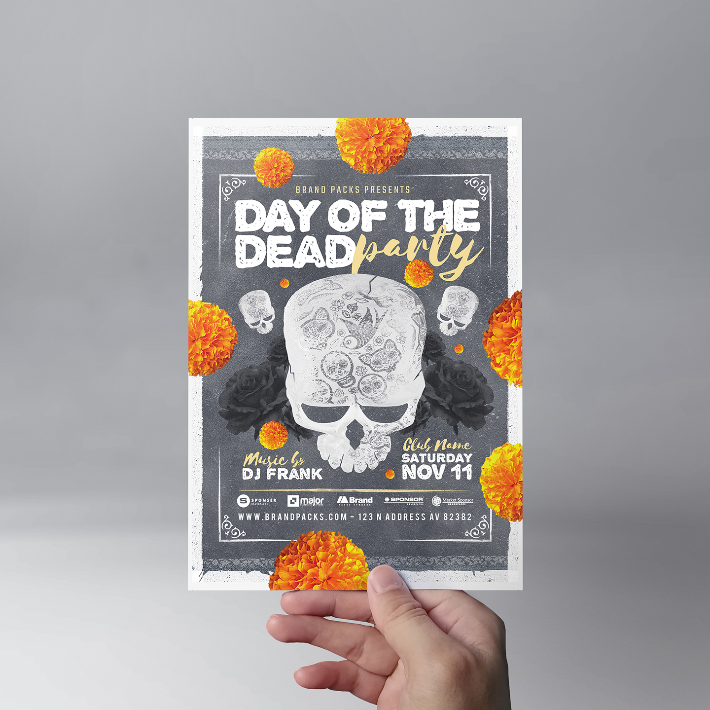 Day of The Dead Party Flyer Template example image 5