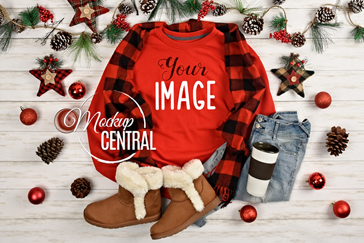 Christmas Red Sweatshirt Mockup, Shirt Mock Up JPG example image 1