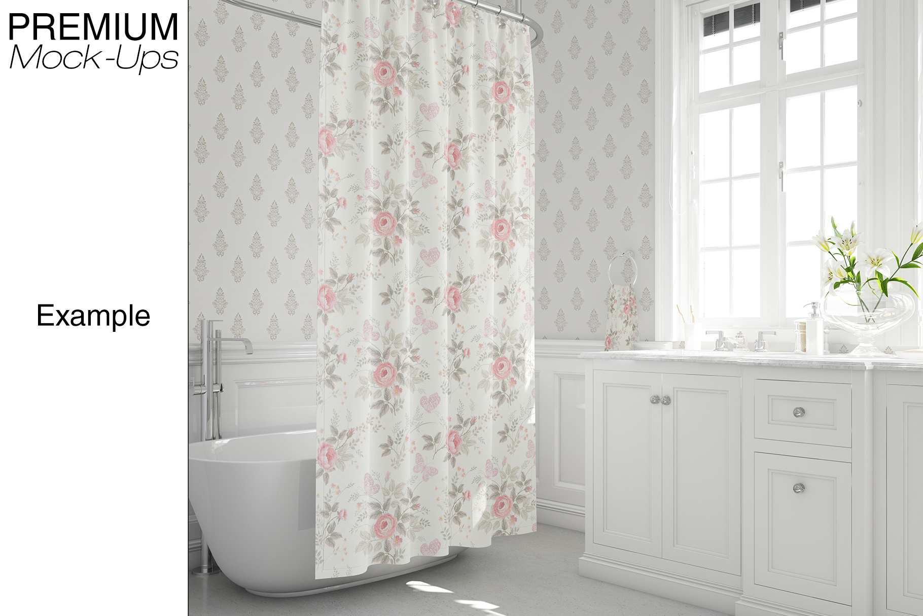 Bath Curtain Mockup Pack example image 7