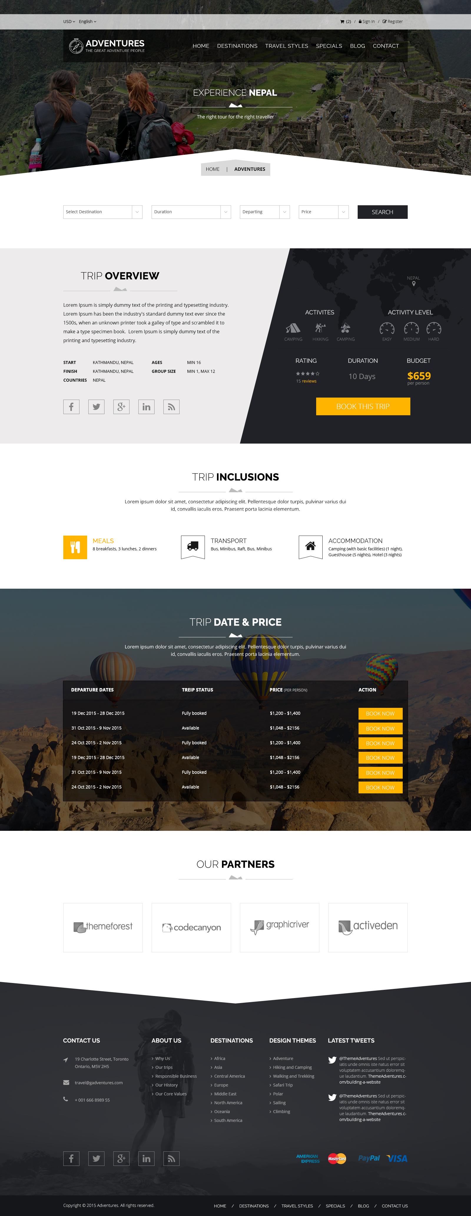 Adventures and Tour PSD Template example image 9