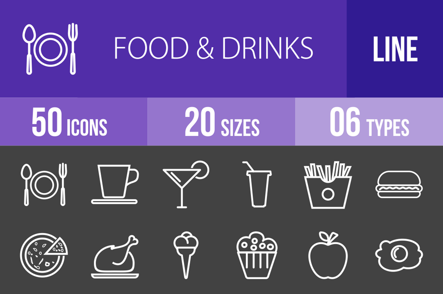50 Food & Drinks Line Inverted Icons example image 1