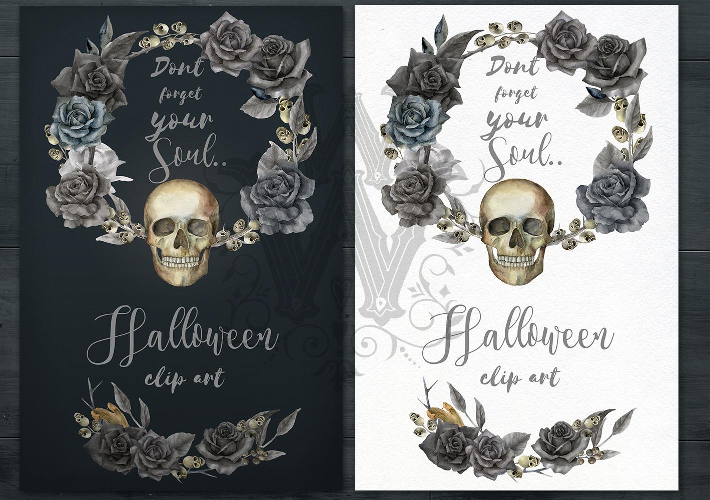 Halloween watercolor pack, Jack o Lantern pumpkin, wreath example image 11