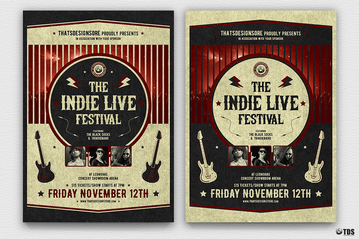 Indie Live Festival Flyer Template V2 example image 2