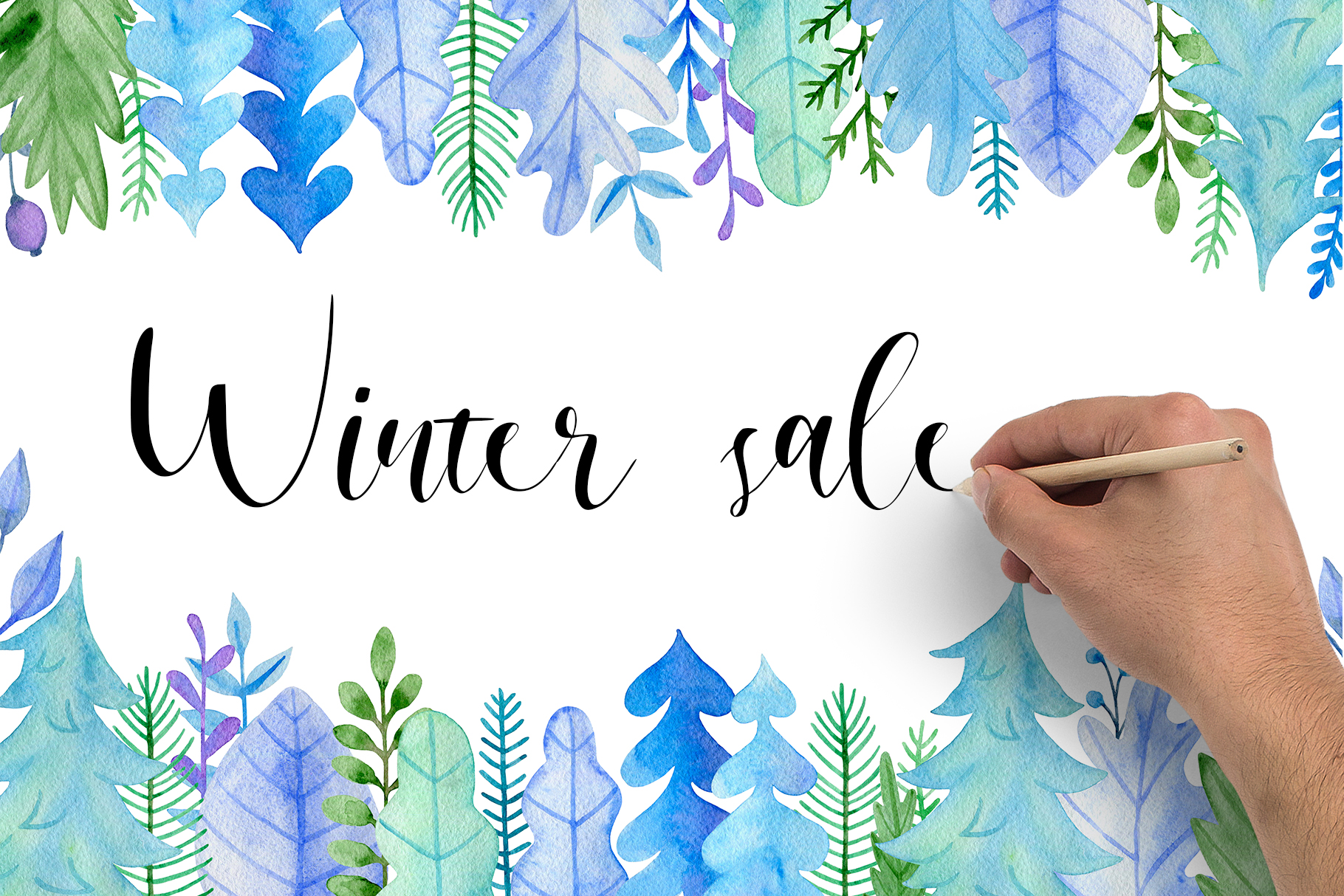 Winter Watercolor Design Kit example image 8