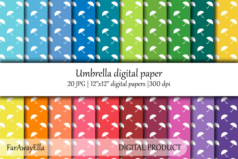 Umbrella JPG digital paper | 20 seamless patterns example image 1
