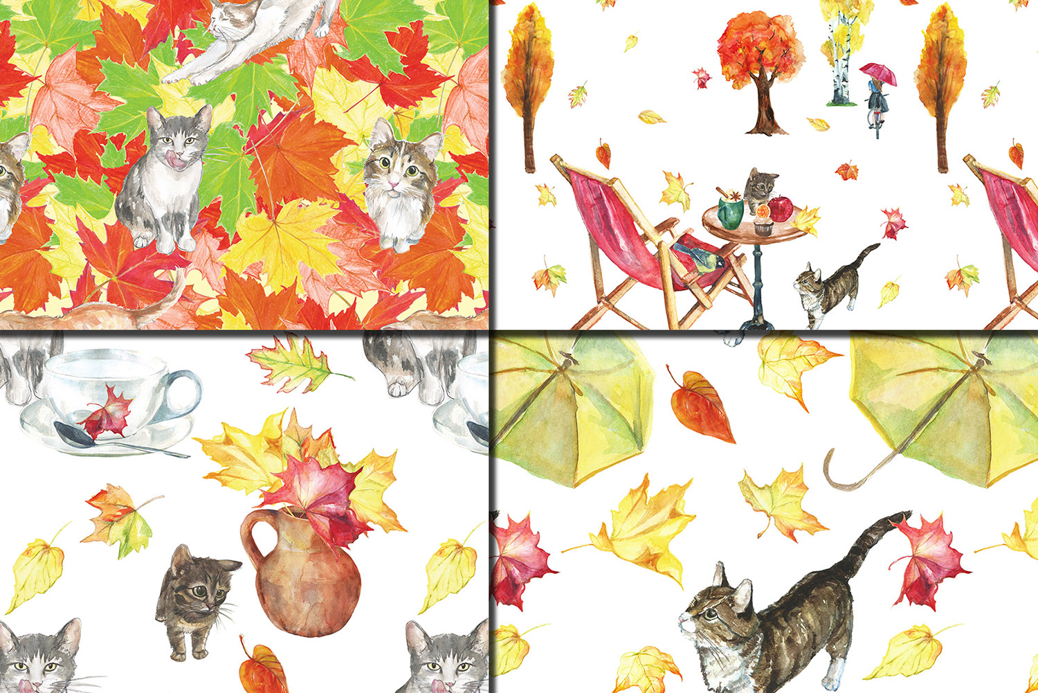 Watercolor Autumn Cats seamless patterns example image 5