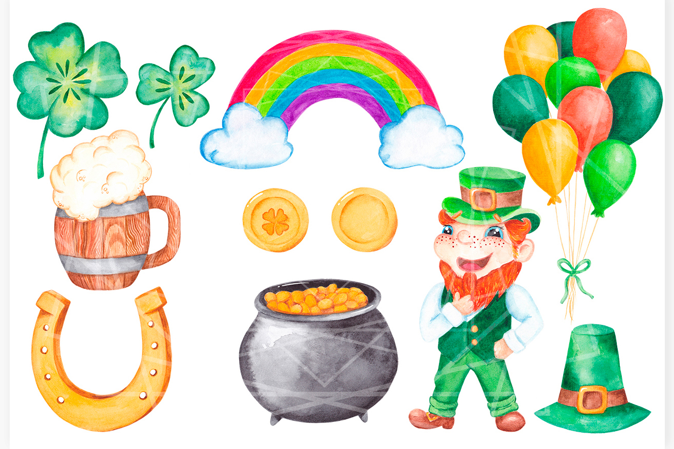 St Patrick's day clipart Watercolor graphics example image 2