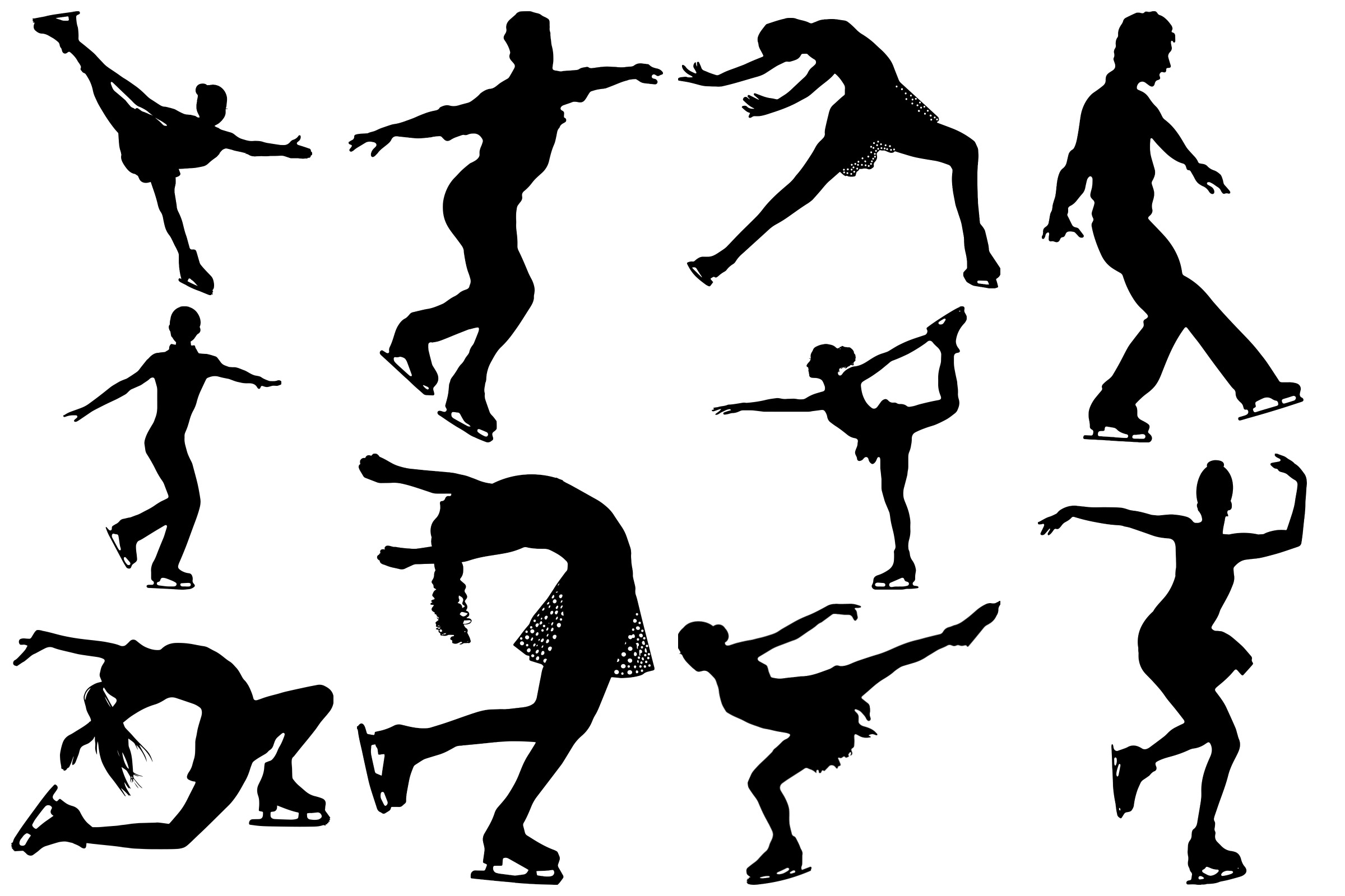 Ice Skating Silhouettes AI EPS PNG, Figure Skating example image 3