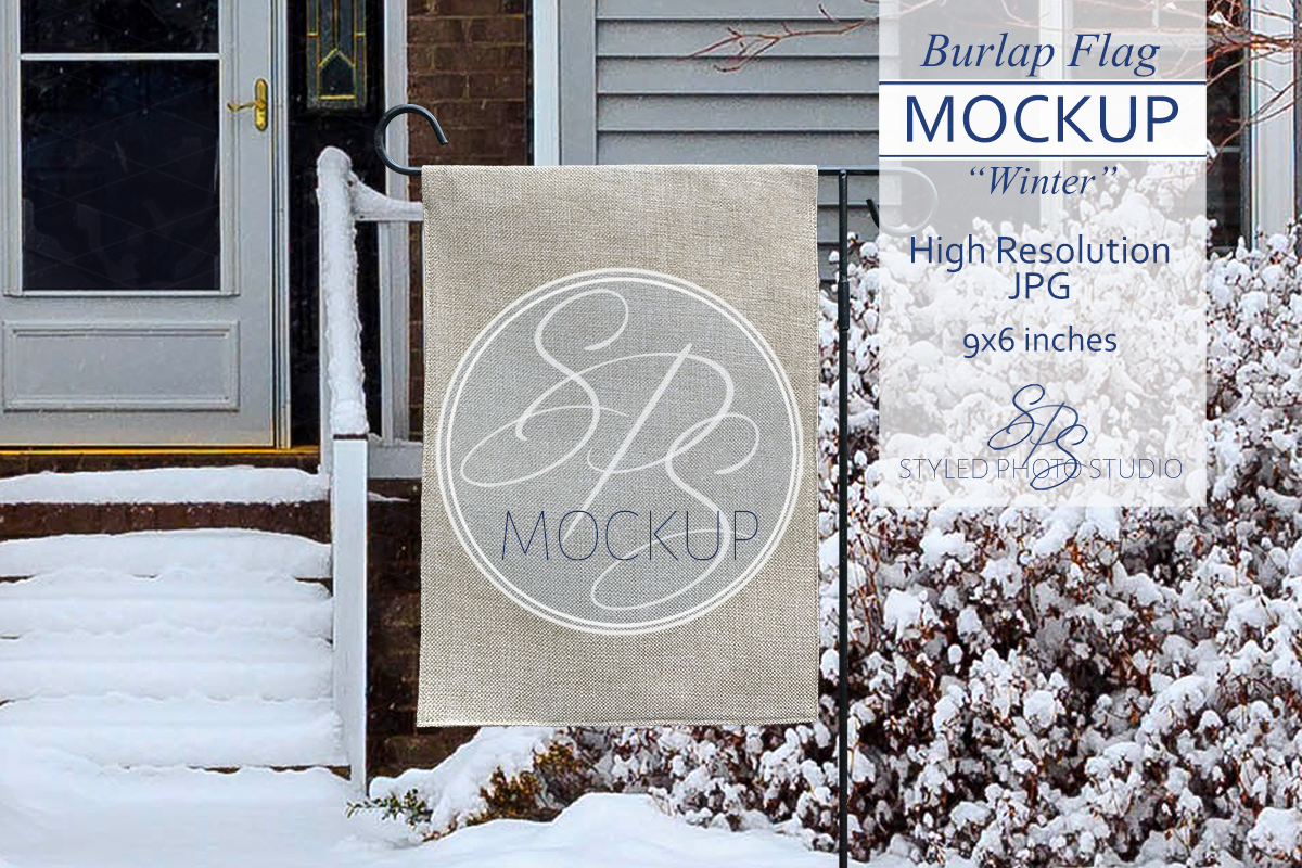 Burlap Garden Flag Mockup for Winter example image 1