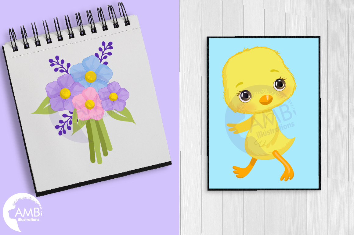Easter Chicks clipart, part 3 AMB- 2728 example image 4