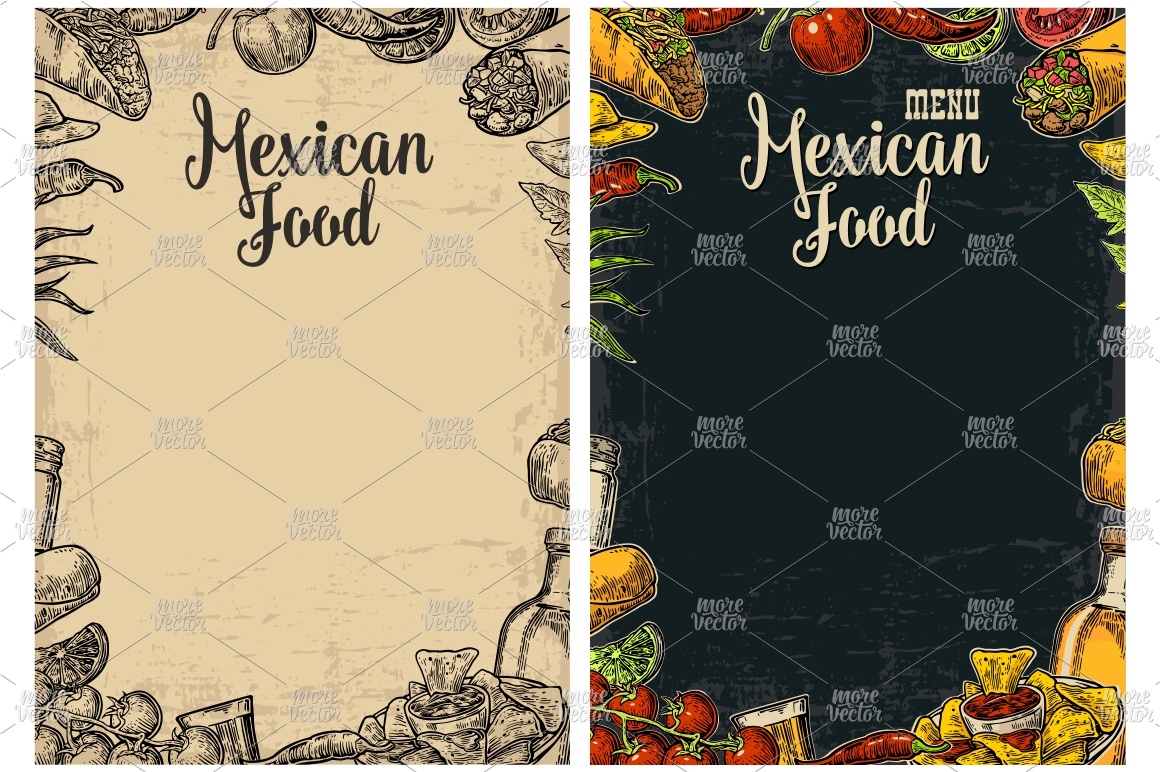 Mexican traditional food restaurant menu engraved example image 4