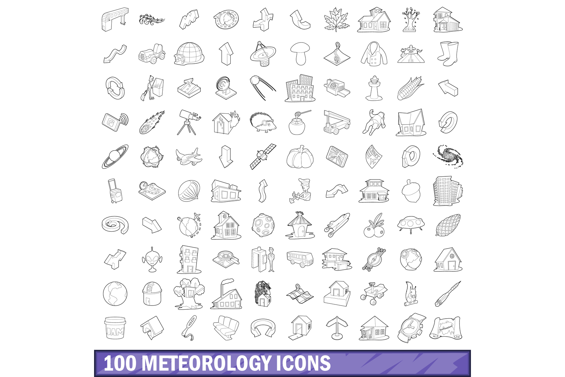 100 meteorology icons set, outline style example image 1