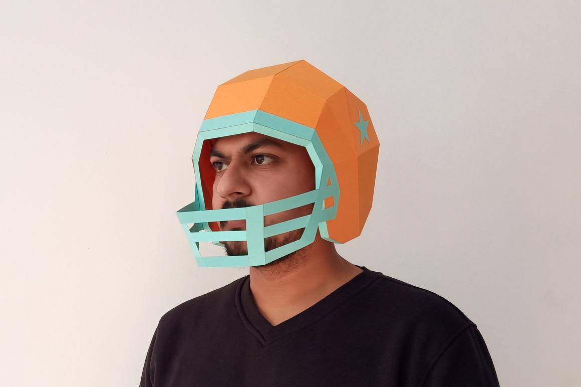 DIY Football Helmet - 3d papercraft example image 1