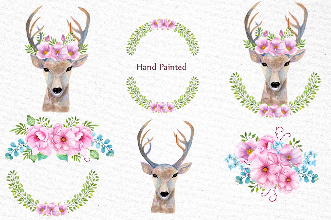 Boho wedding floral clipart example image 2