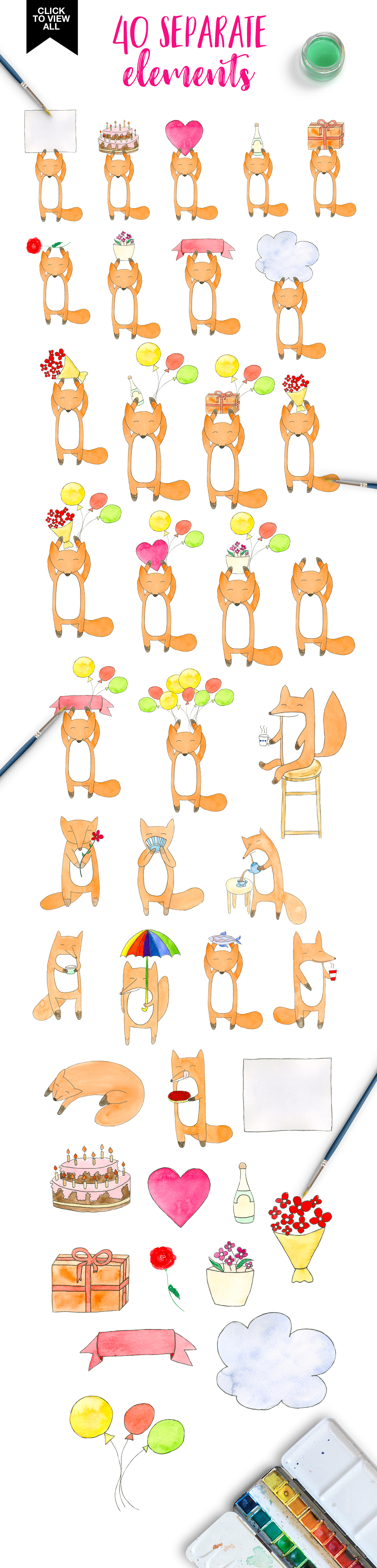 Watercolor foxy stories example image 2