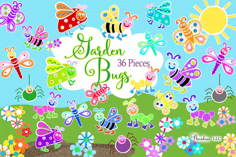Watercolor Bugs Clipart, Garden Bugs, Bee, Ladybug example image 1
