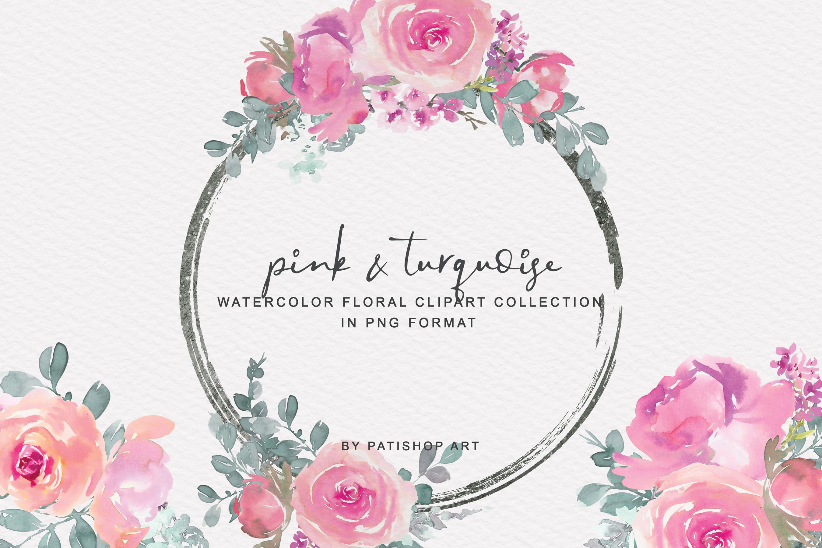 Pink and Turquoise Watercolor Floral Clipart Collection example image 1