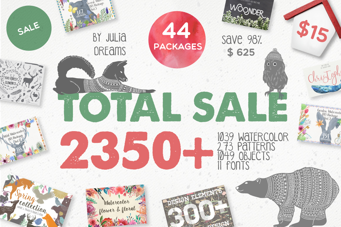 TOTAL SALE • 2350 ELEMENTS • 98%OFF example image 1