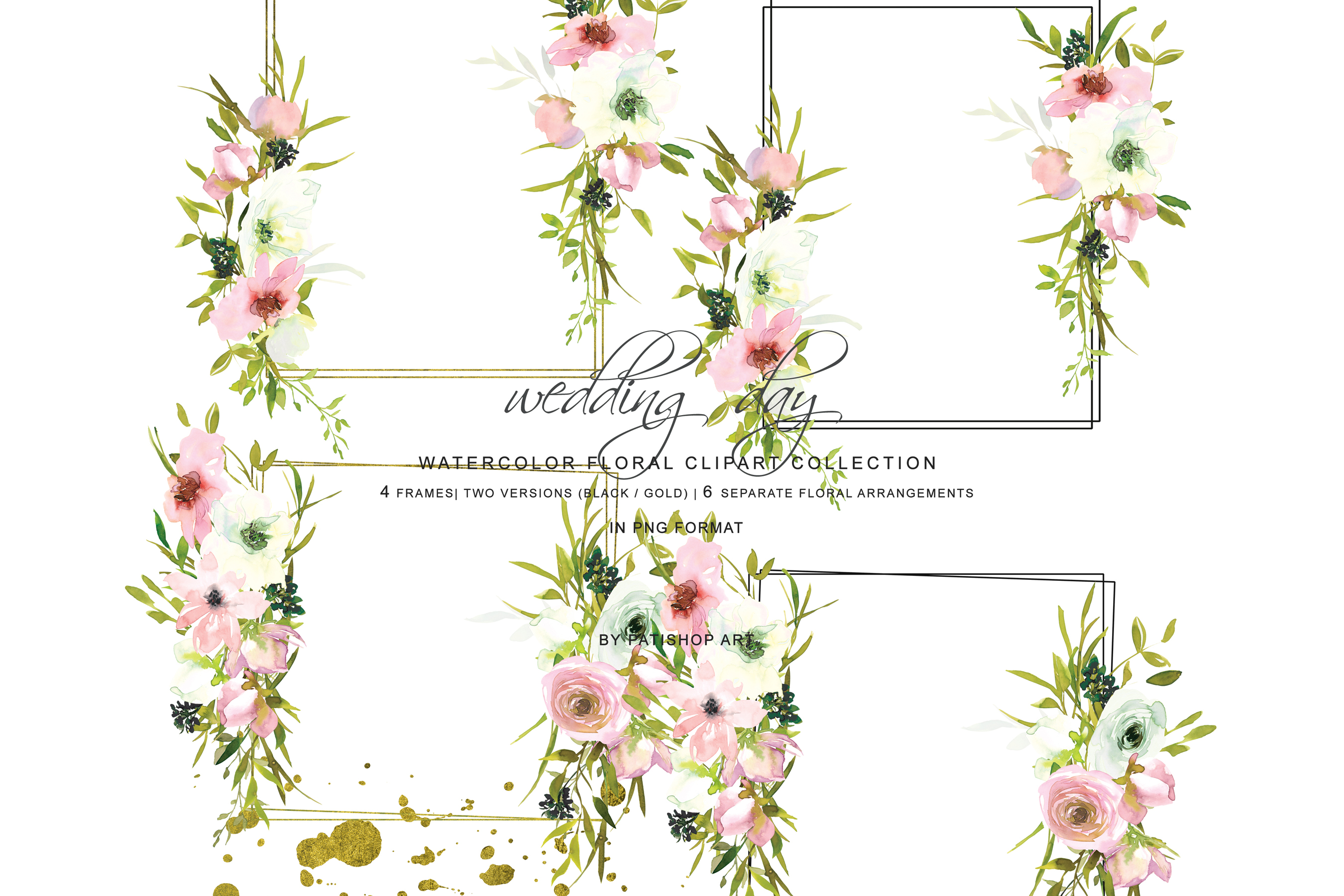 Hand Painted Watercolor Blush and White Rose Clipart example image 10