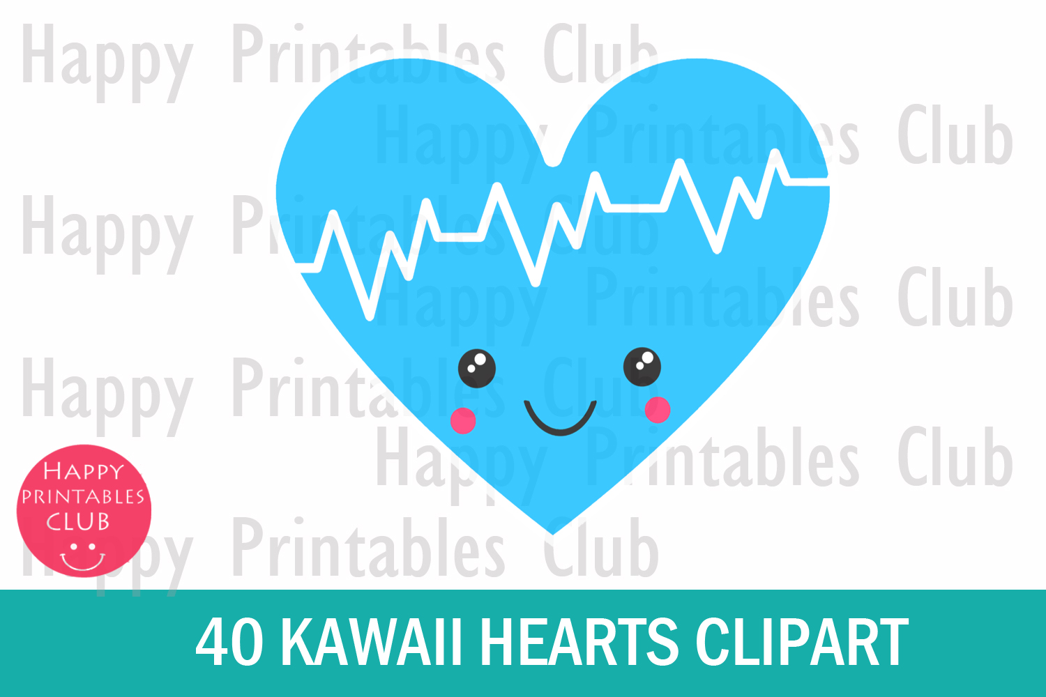 40 Kawaii Heart Clipart- Cute Valentines Day Heart Clipart example image 2