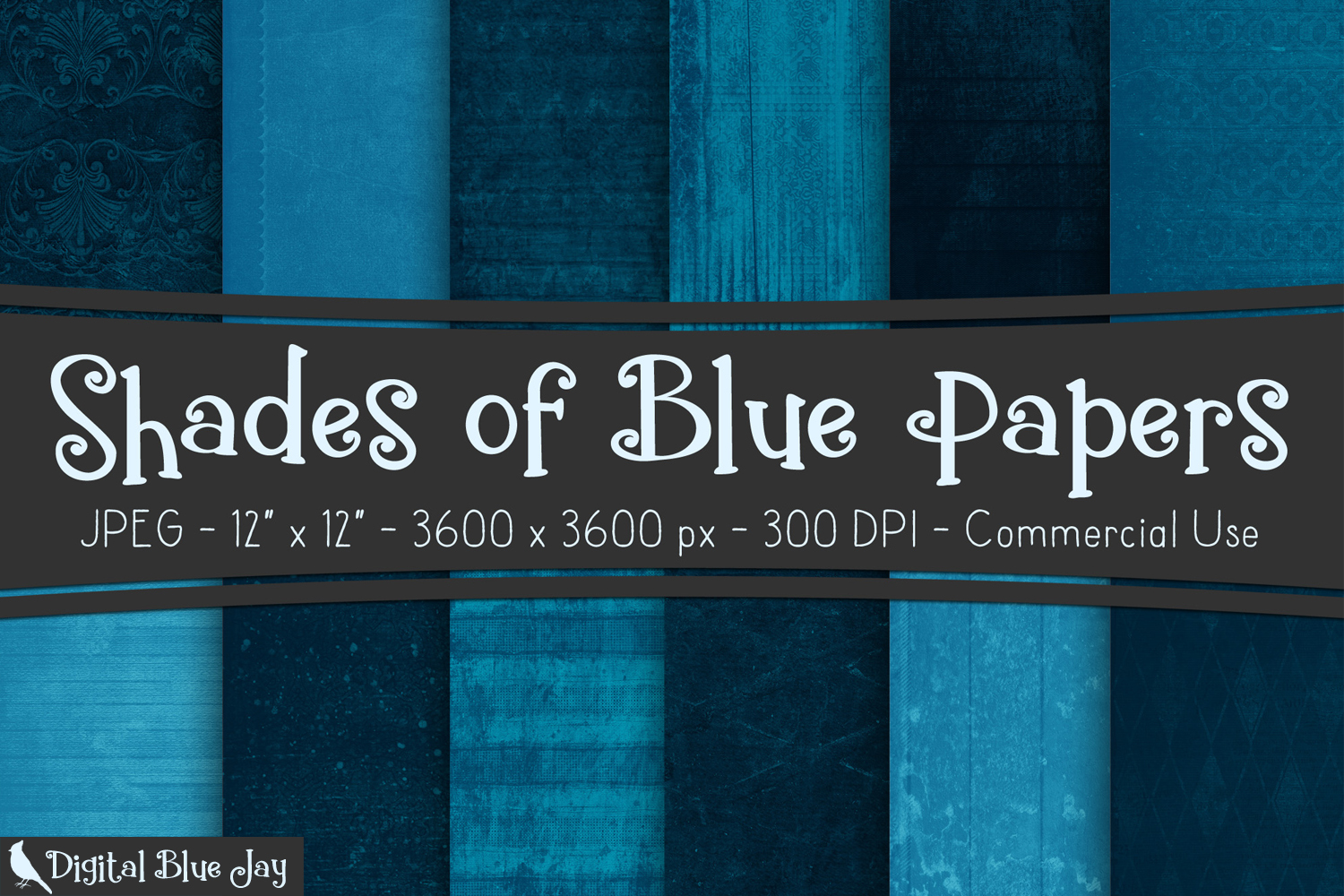 12 Digital Paper Textured Backgrounds - Shades of Blue example image 1