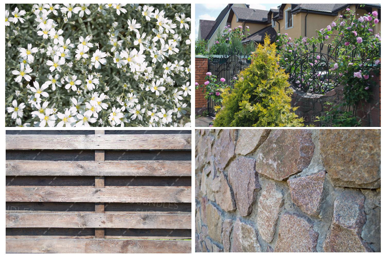 Bricks, fence and greenery example image 6