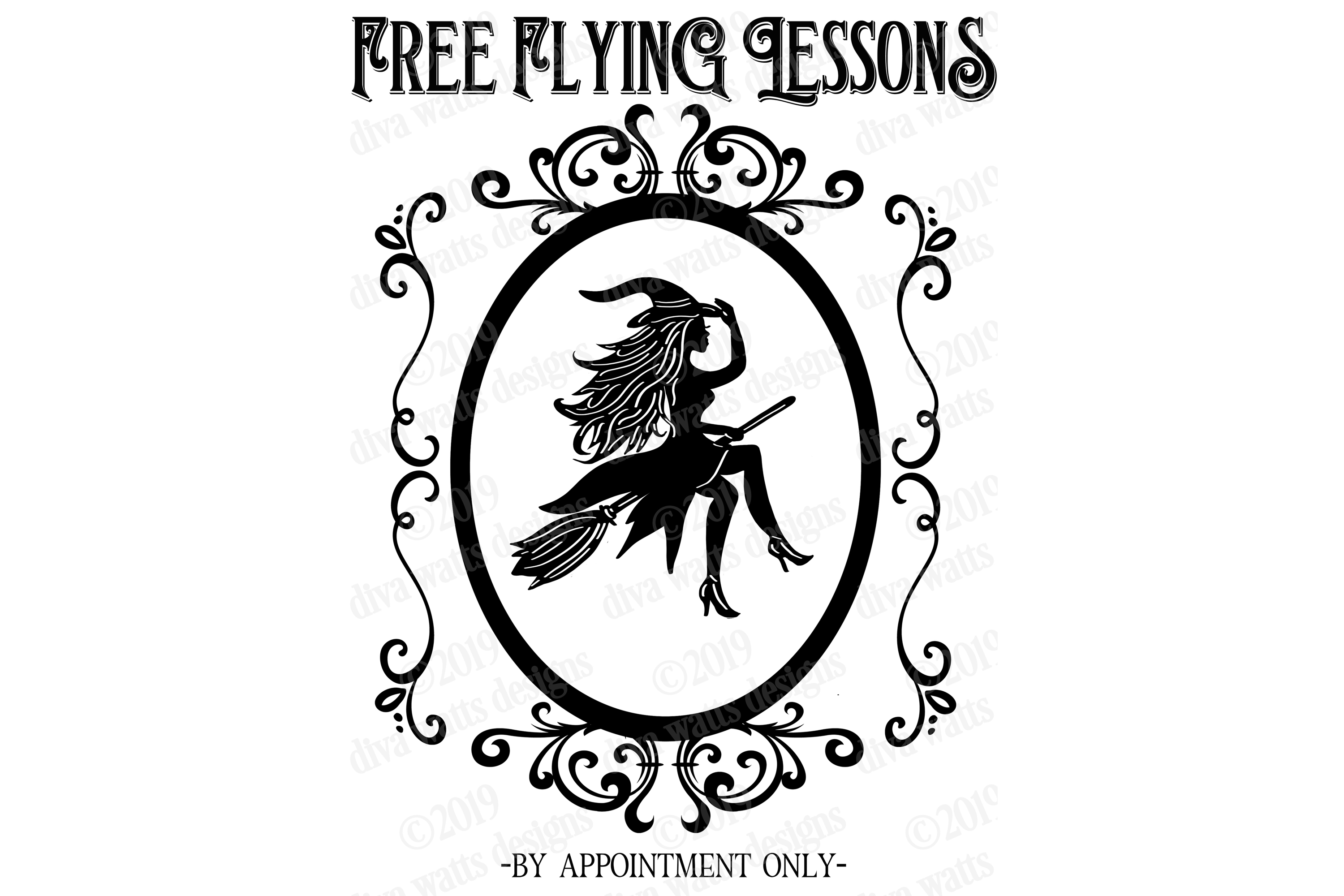 Free Flying Lessons Witch on Broom Cutting File example image 2