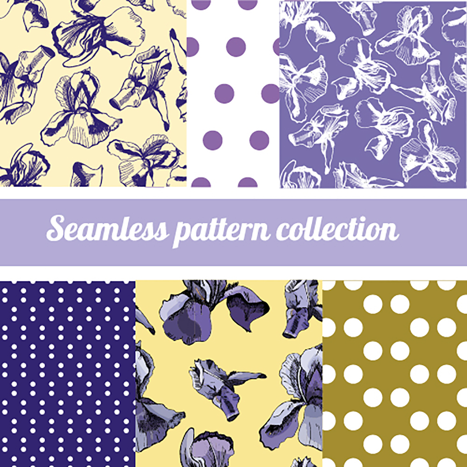 Collection with sketches of iris flowers and seamless patterns.  example image 3