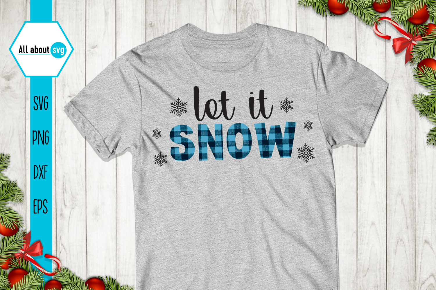 Let It Snow Buffalo Plaid Svg example image 2
