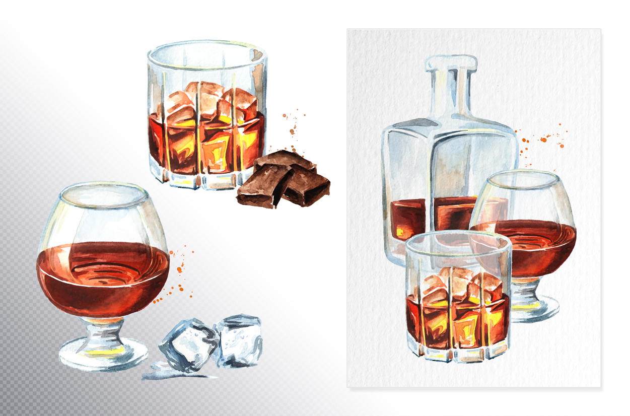 Whiskey.Watercolor collection example image 3
