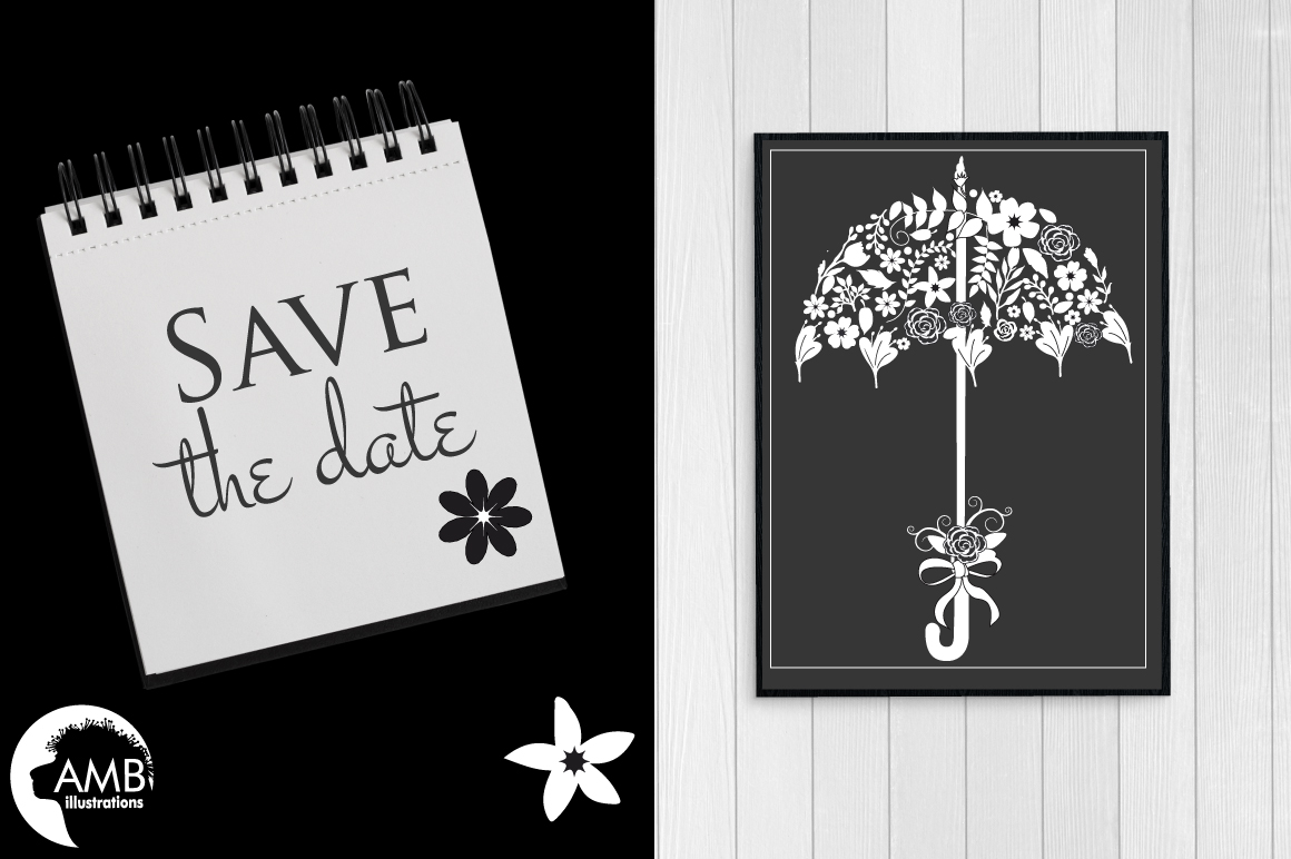Chalkboard Wedding Floral clipart, graphics, illustrations AMB-1242 example image 3