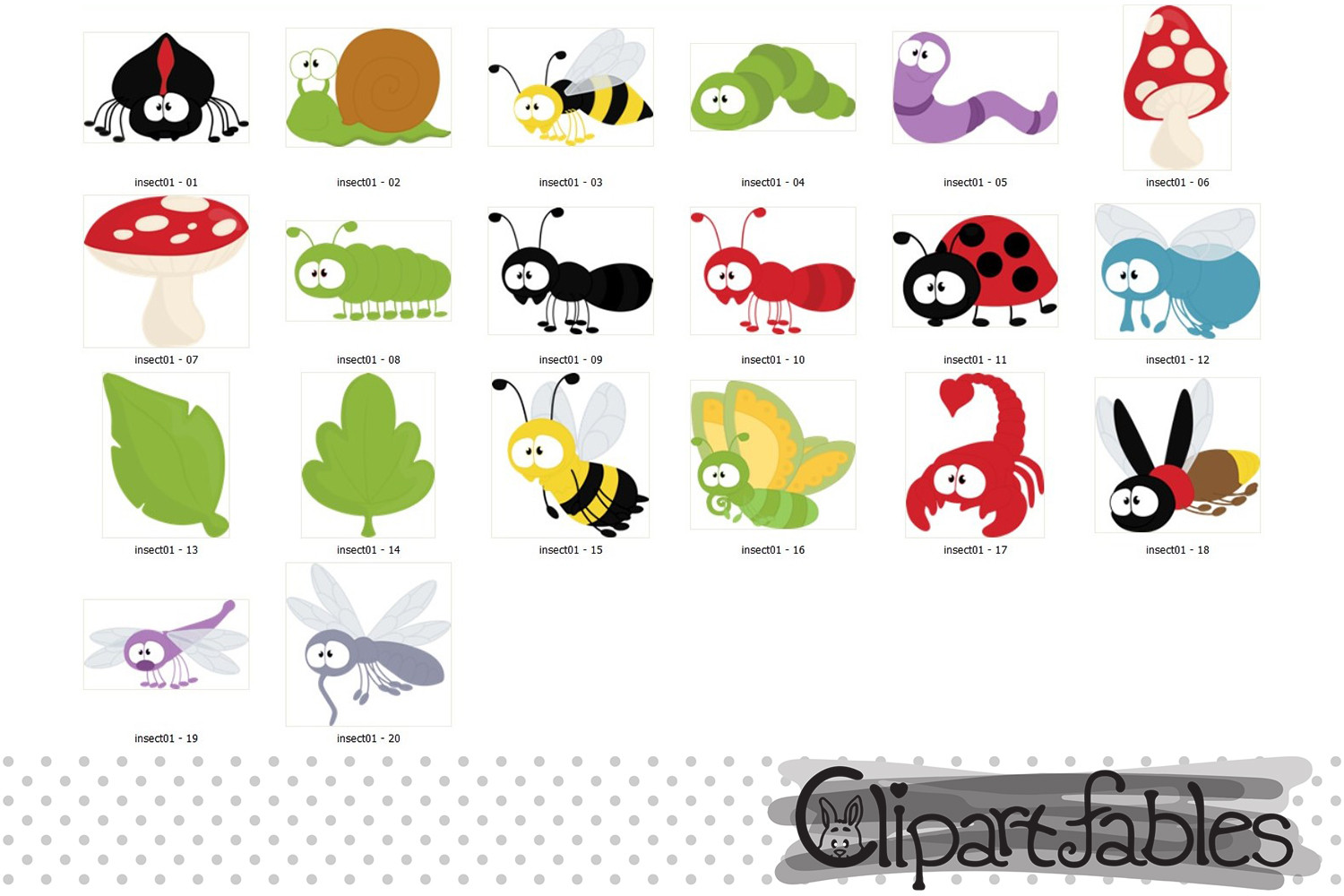 Cute INSECT clipart, bugs clip art, digital art example image 2