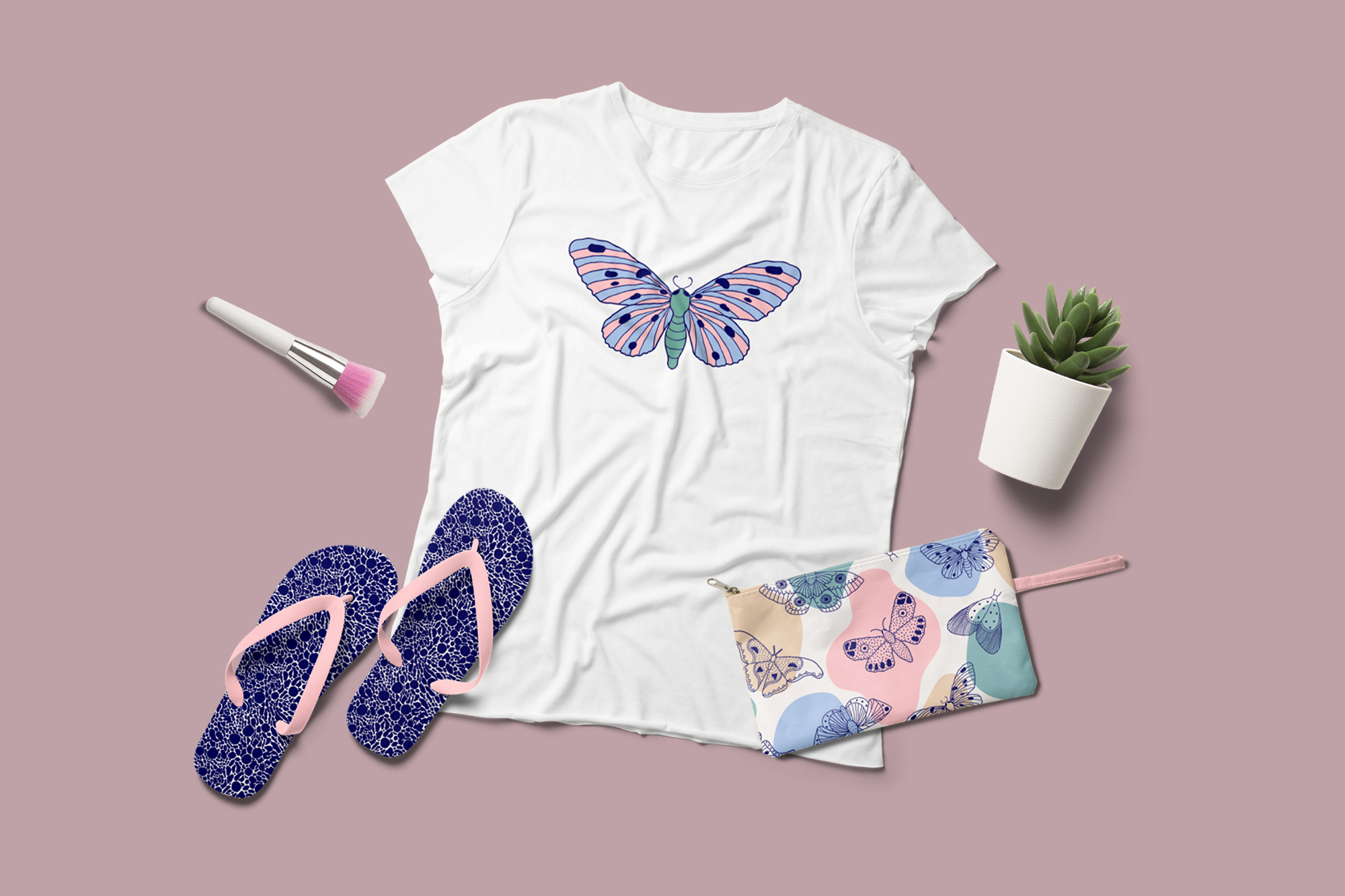 Moths and butterflies. Vector patterns. example image 7