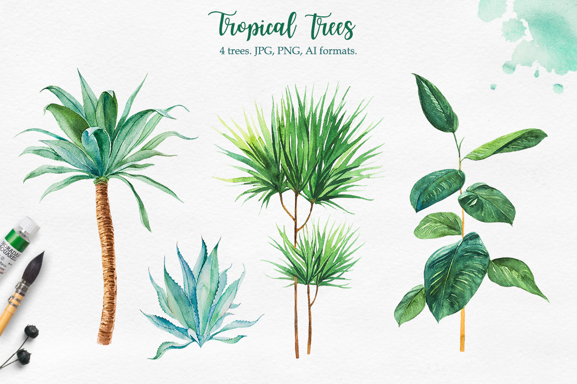 Tropical. Watercolor illustrations. example image 2