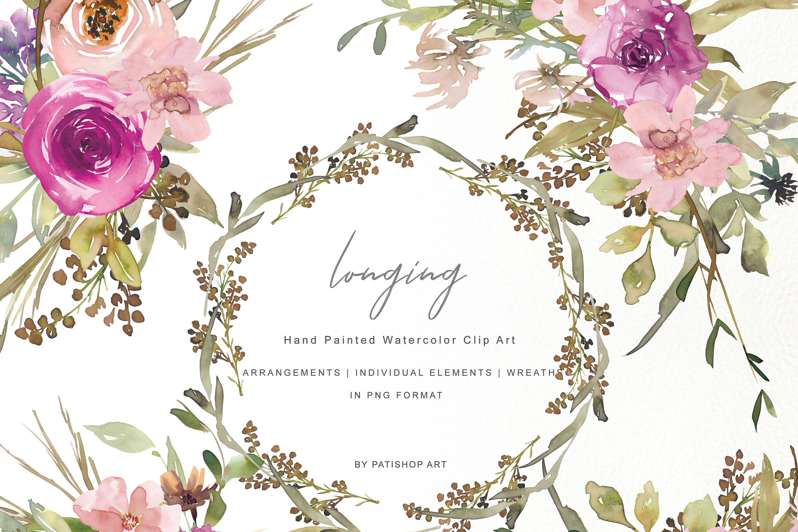 Watercolor Dusty Pink And Purple Flowers Clipart Set