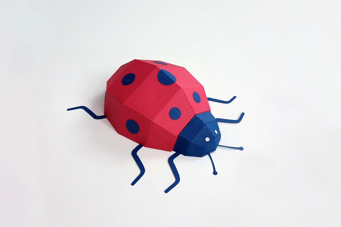 DIY Papercraft Ladybug,Lady bug,Lady beetle,Ladybug svg,dxf example image 4