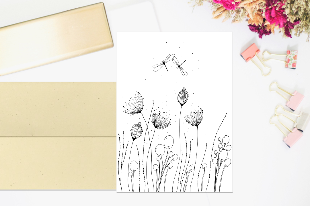 Flowers with Lines and Dots, A1, SVG example image 3